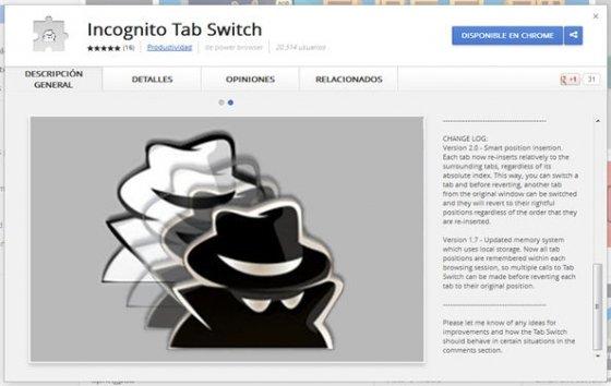 Extensión  Incognito Tab Switch en la Chrome Web Store