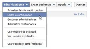 Opción para editar la configuración de una página de Facebook