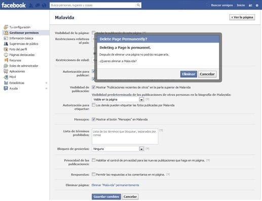 Opción para la página de Facebook