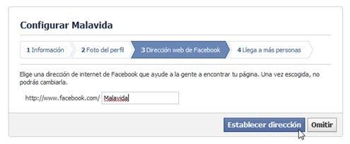 Escribe la dirección de la nueva página de Facebook