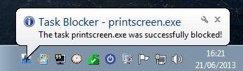 Mensaje de bloqueo en Task Blocker