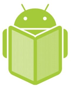 Icono de Android con un ebook