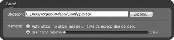 Definir la capacidad de la memoria caché de Spotify