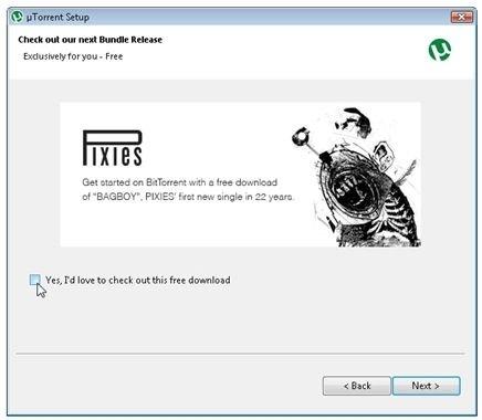 Avisa o anuncio publicitario durante la instalación de uTorrent