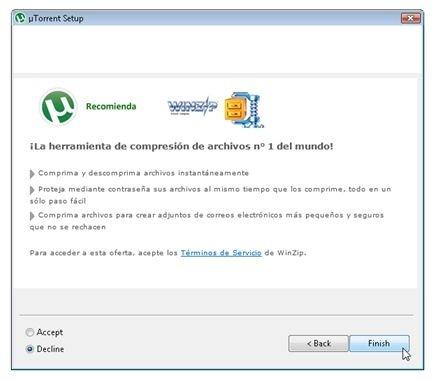 Declinar la instalación de WinRAR