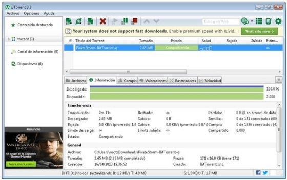 Interfaz de uTorrent con publicidad
