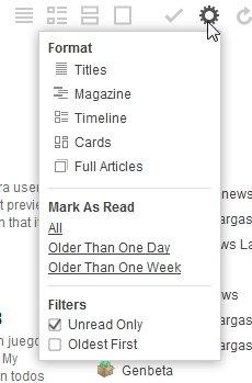 Menú desplegable de feedly para marcar artículos como leídos
