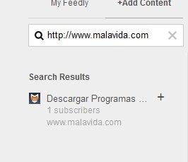 Selección de feed RSS en feedly