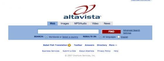 Portada del buscador Altavista en su última etapa