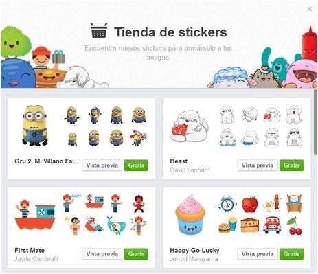 Tienda de stickers de Facebook