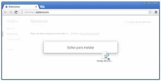 Complemento de Opera instalándose en Chrome