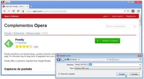 Descargar complemento de Opera y renombrarlo