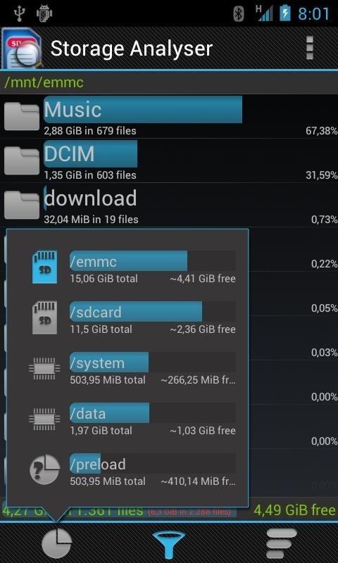 Comprobar el espacio libre de Android con Storage Analyser
