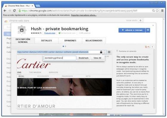 Chrome Web Store con la extensión Hush