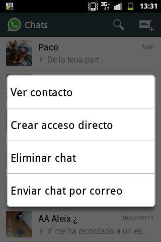 Eliminar historial de conversaciones en WhatsApp