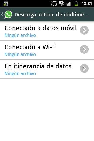 Desactivar descarga automática de fotos en WhatsApp