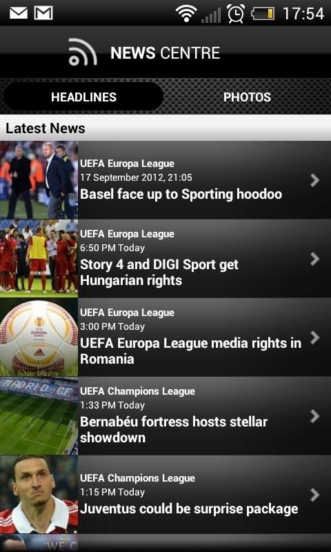 UEFA.com es la aplicación oficial de la UEFA para Android e iPhone