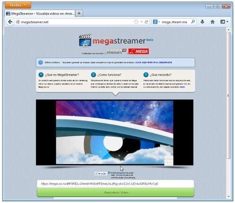 Página web Mega Stream con vídeos en reproducción