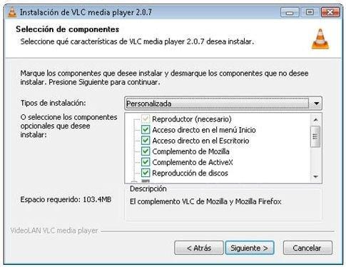 Opción para instalar la extensiones para navegadores en VLC