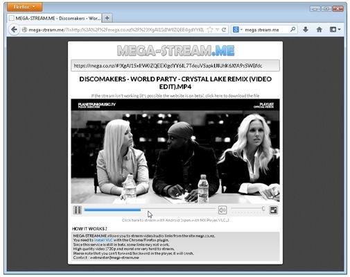 Página web con vídeo en reproducción de Mega Stream