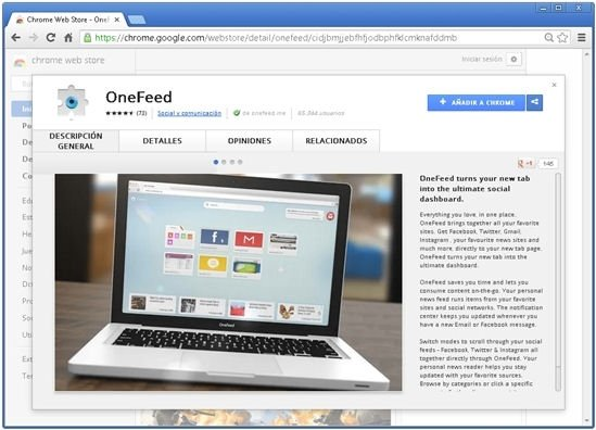 Extensión OneFeed vista en la Chrome App Store