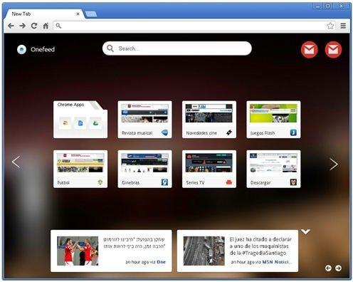 Página principal de OneFeed