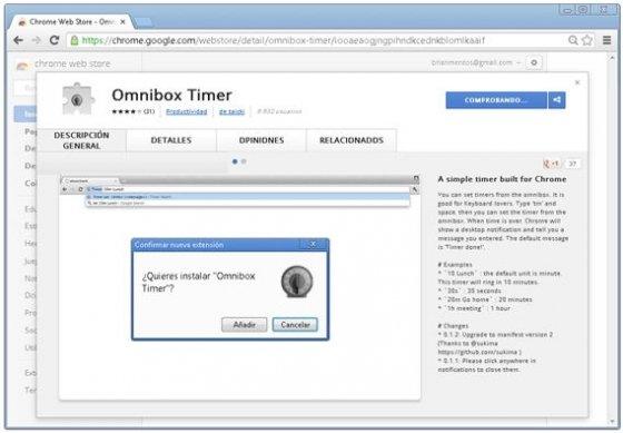 Chrome Web Store con la extensión Omnibox Timer