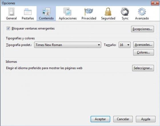 Menú de Opciones de Firefox 23 donde no es posible desactivar JavaScript