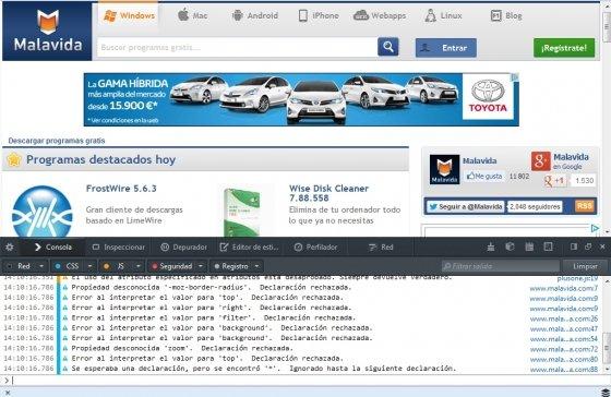 Consola web de desarrollo en Firefox en la que es posible desactivar temporalmente JavaScript