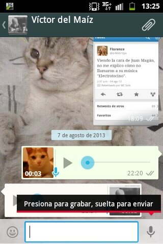 Grabar un mensaje de voz en Whatsapp con la función Push to Talk