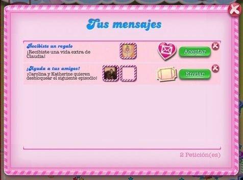 Lista de mensajes personales de Candy Crush Saga