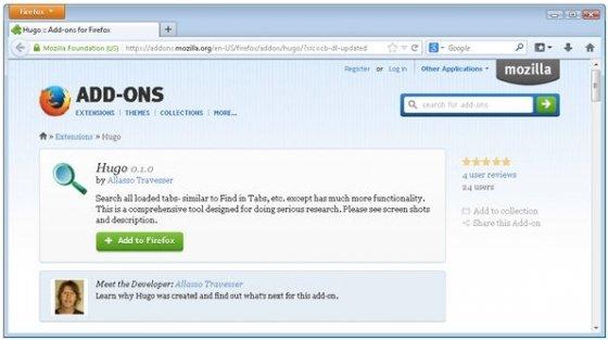 Página oficial del addon para Firefox Hugo
