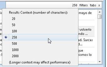 Elige el número de caracteres adicionales que se muestran