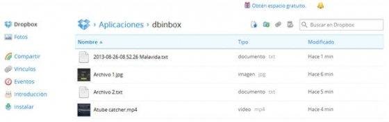 Contenido de la carpeta de Dbinbox instalada en la cuenta Dropbox