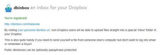 Mensaje de confirmación de la correcta instalación de Dbinbox