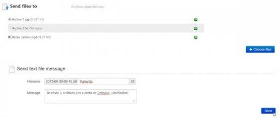 Selección de archivos a enviar a Dropbox desde Dbinbox
