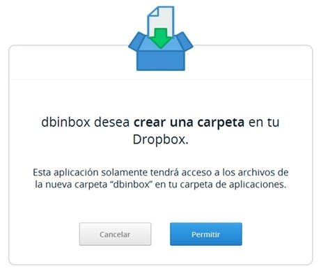 Permitir la creación de una carpeta de Dbinbox en la cuenta de Dropbox