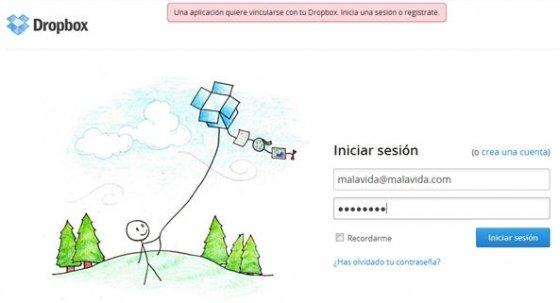 Login en Dropbox para vincular la Dbinbox