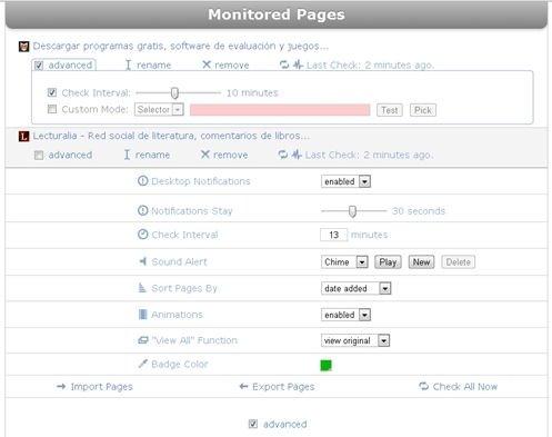Opciones de configuración para las notificaciones