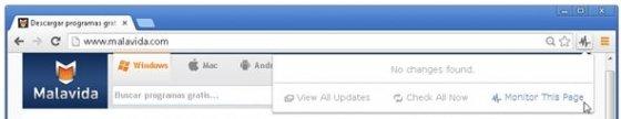 Añade las páginas web que quieres monitorizar al listado