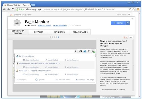 Extensión en la Chrome Web Store