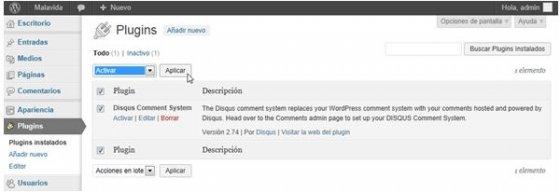 Activar el plugin de Disqus en WordPress
