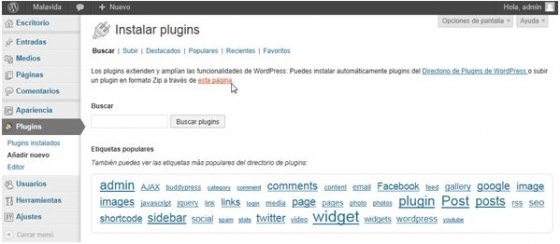 Apartado para añadir nuevos plugins en WordPress
