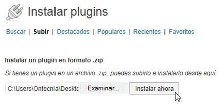 Subir plugin de WordPress en ZIP