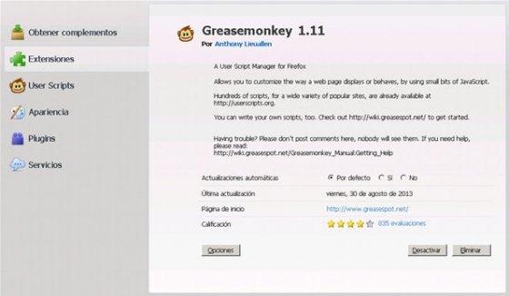 Greasemonkey en el panel de administración de extensiones de Firefox