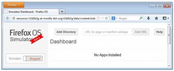 Dashboard de Firefox OS Simulator