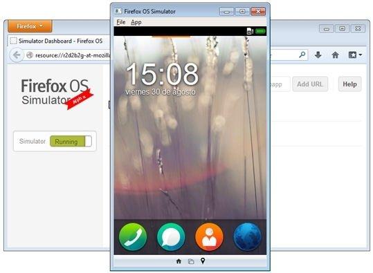 Emulador Firefox OS Simulator corriendo en español
