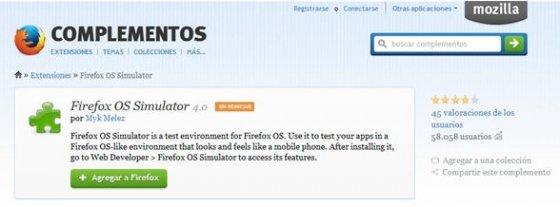 Extensión Firefox OS Simulator