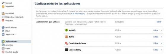 Aplicaciones de Facebook instaladas