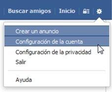 Acceso a la configuración de Facebook